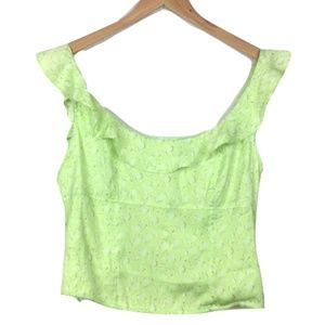 NWT Free People Lime Cropped Ruffle Tank